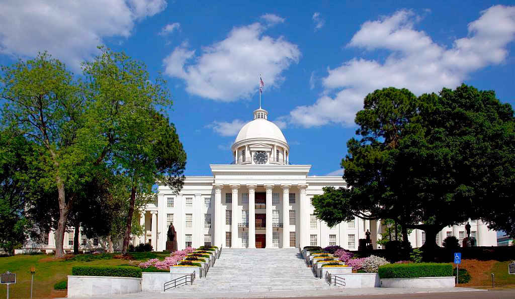 Alabama Capitol Building in Montgomery, illustrating a page about collections services in New York State.