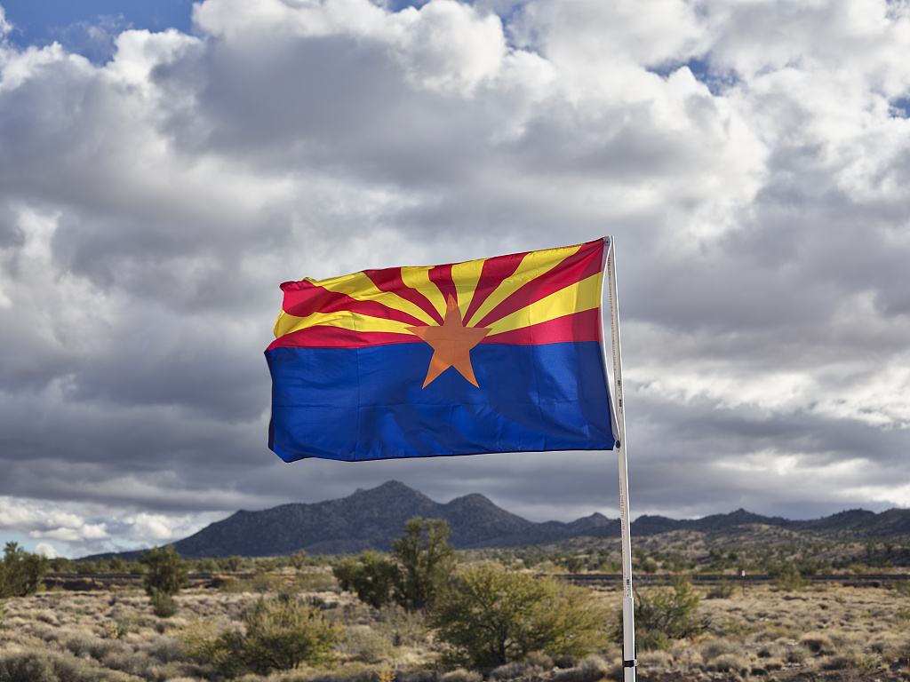 Arizona state flag flying in desert, illustrating a page about collections services in New York State.