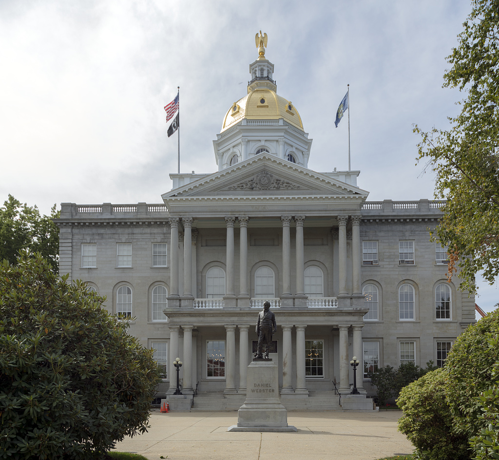 The state capitol in Concord, New Hampshire, illustrating a page about collections services in New York State.