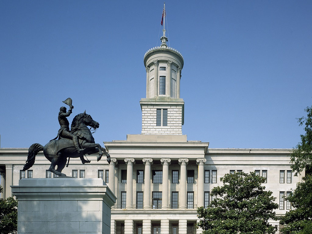 Tennessee Capitol in Nashville, Tennessee, illustrating page about collections services in New York State.
