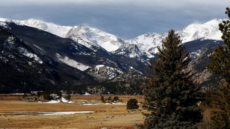 Rocky mountain national park, field and trees in foreground, snow-covered mountains in background, illustrating a page about collections services in New York State, for Colorado businesses.