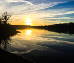Sun on horizon over lake and trees, illustrating page about collections services in New York State, for Oklahoma businesses.