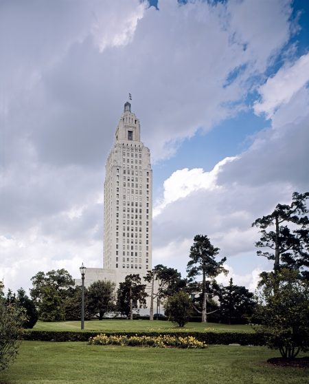 Louisiana Capitol building, Baton Rouge, Louisiana, illustrating a page about collections services in New York State.