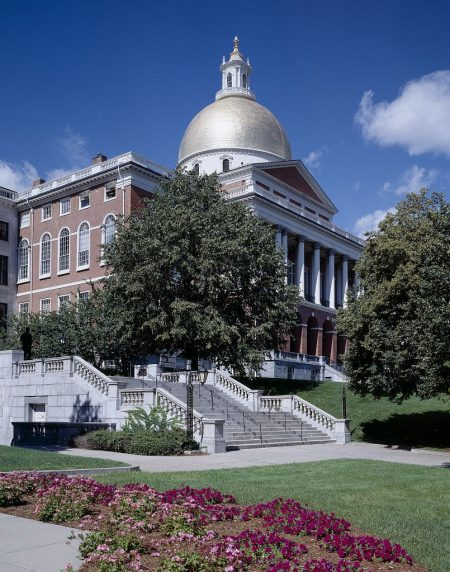 Massachusetts State House and Capitol in Boston, illustrating a page about collections services in New York State.